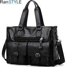 "leather laptop bag men black Briefcase 15.6"" Fashion Bu"