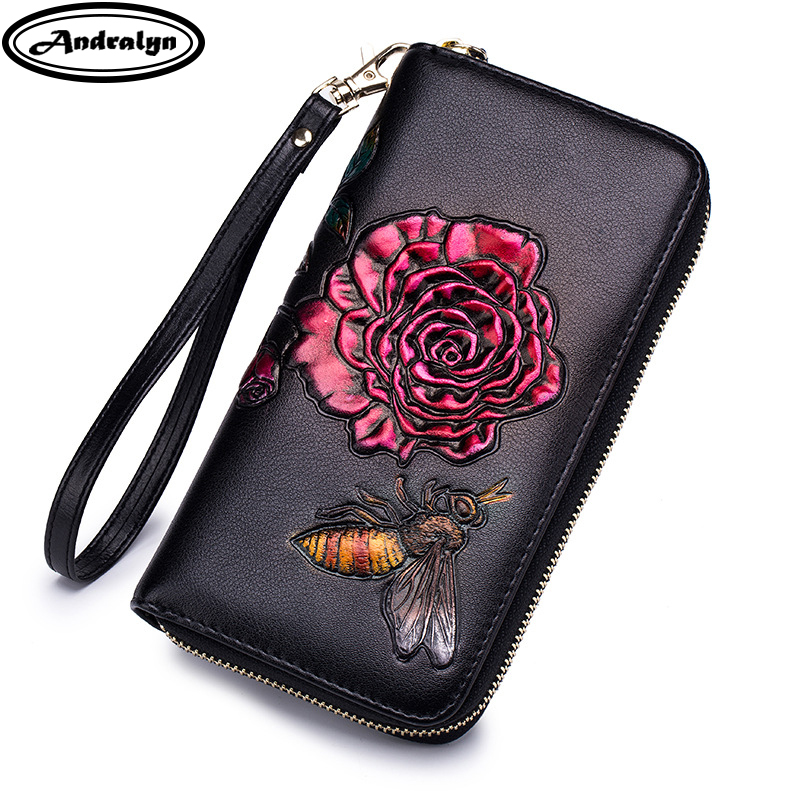 Andralyn RFID Anti-theft Brush Wallet Women Embossing Wrist Zipper Long Wallets Ladys Phone Clutch Flower Coin Pocket Purses