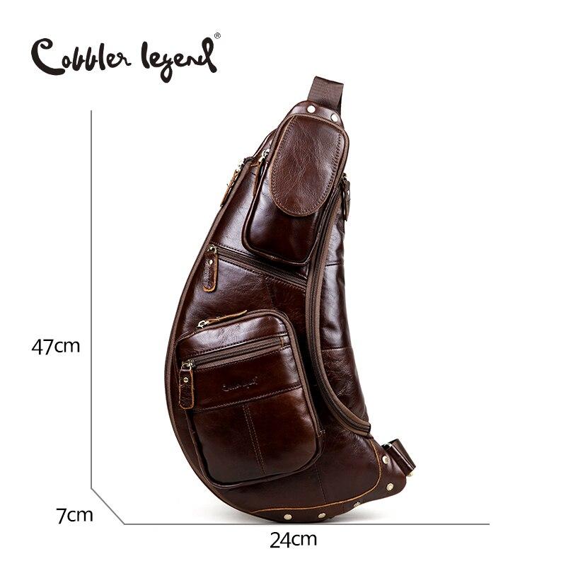 Cobbler Legend Men's Vintage Genuine Leather Travel Messenger Shoulder Bags for Men Cross Body Chest Pack Bag For Men - 2