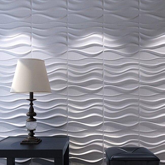 3d 벽 Panels 식물 섬유 흰 대 한 인테리어 Decor 12 개 32 Sq Ft 에서3d 벽