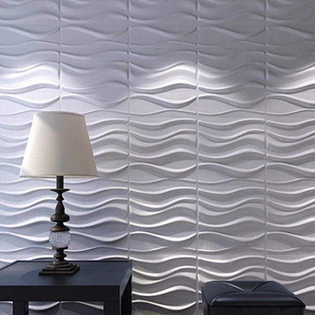 3D Wall Panels Plant Fiber White for Interior Decor 12 Pcs 3m2
