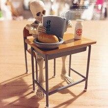 Макеты кукольного домика 8,7 см Скелет кукла мини фигурки и стул для школьной парты набор мебели для кукол дом жизни сцены Декор