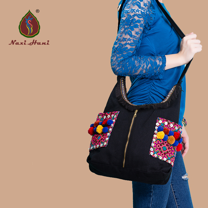 HOT Ethnic embroidered canvas Women shoulder bags Fashion classic women tassel travel messenger bags ethnic women s embroidered skirt