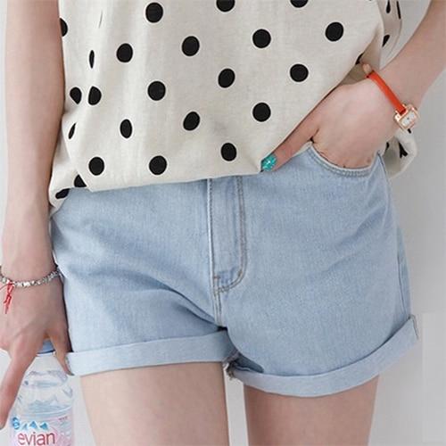 Verano delgada cintura alta pantalones cortos de mezclilla yardas grandes flojas de curling pantalones vaqueros cortos mujeres la moda de nueva