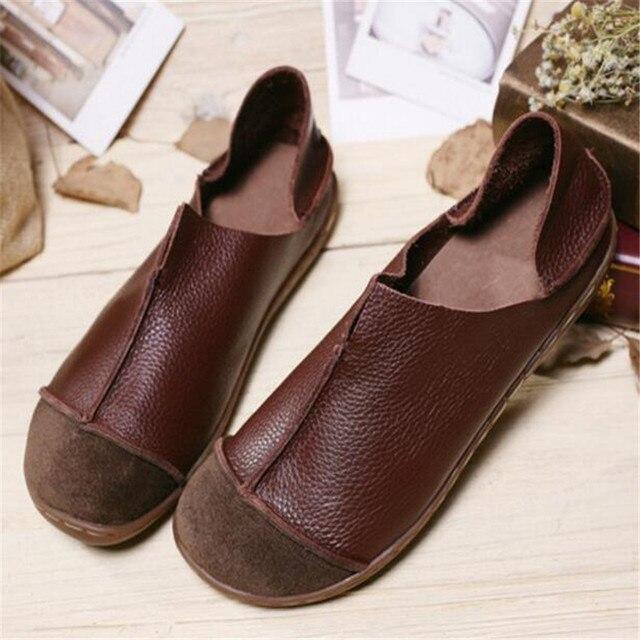02c7c976ca Mulheres Sapatos Casuais Primavera Sapatos de Couro Genuíno único Xiesen  algodão feminino preguiçoso sapatos sapatos Retro