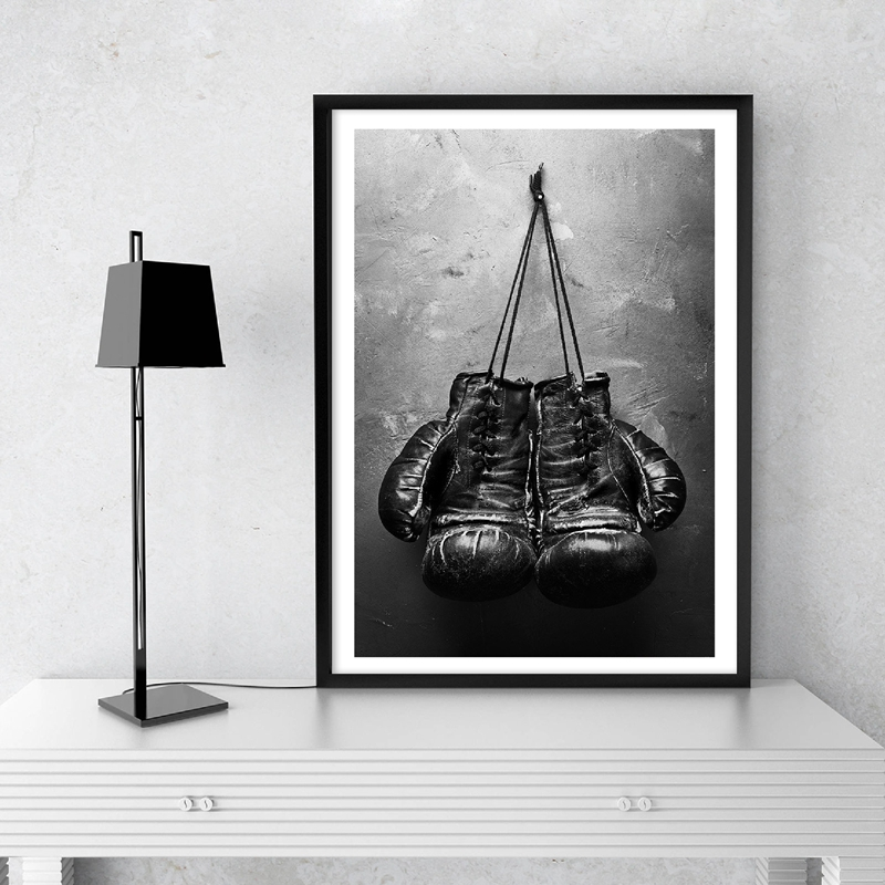 Boxing Gloves Vintage Photo Poster Wall Art Canvas Painting Black And White Picture Sport Prints For Living Room Home Wall Decor