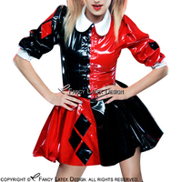Red With Black Clown Sexy Latex Dress With Buttons Front Turn Down Collar Half Sleeves Rubber