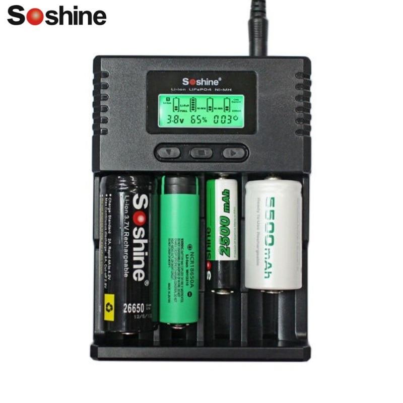 Soshine H4 Intelligente Ladegerät Digicharger LCD Display Ladegerät Mit Auto Kabel Pelz Li-Ion AA AAA 18650 14500 16340 26650