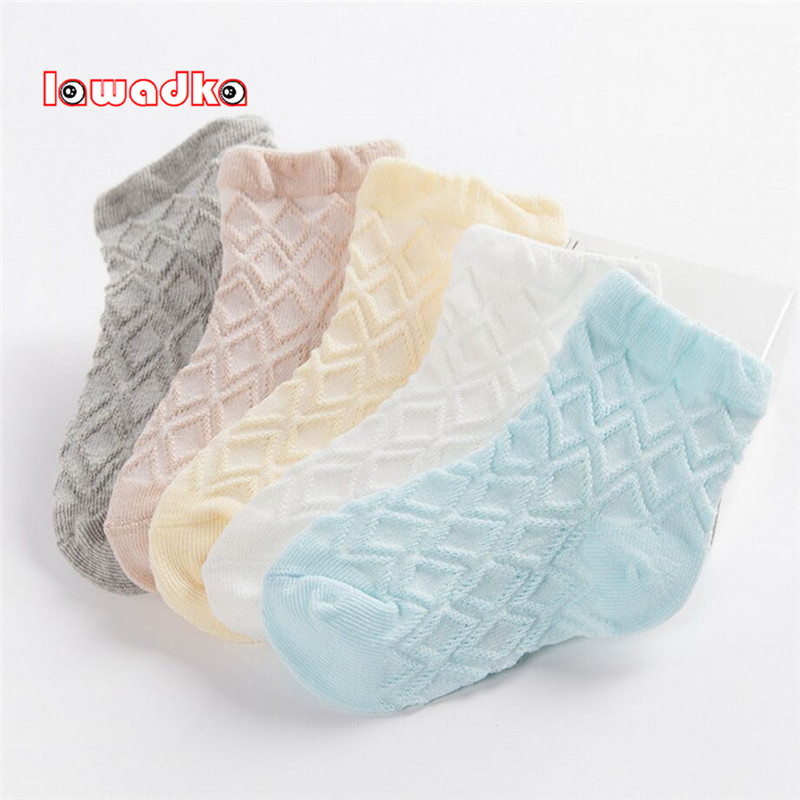 Lawadka 5Pairs/Lot Kid Socks Summer Style Solid Thin Soft Cotton Children For Boys Girls Mesh Students  Socks