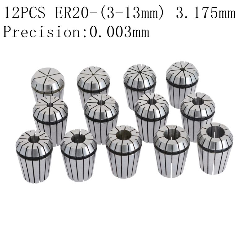 AAA 12PCS High Precision ER20 Cylinder Clamp 1-13mm Carving Machine chuck Accessories Spring CNC Jacket Milling Cutter