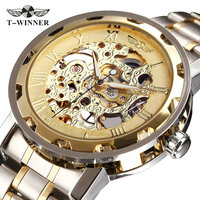 SEWOR Gold Men Skeleton Mechanical Watch Stainess Steel Steel Hand Wind Watches Transparent Steampunk Montre Homme