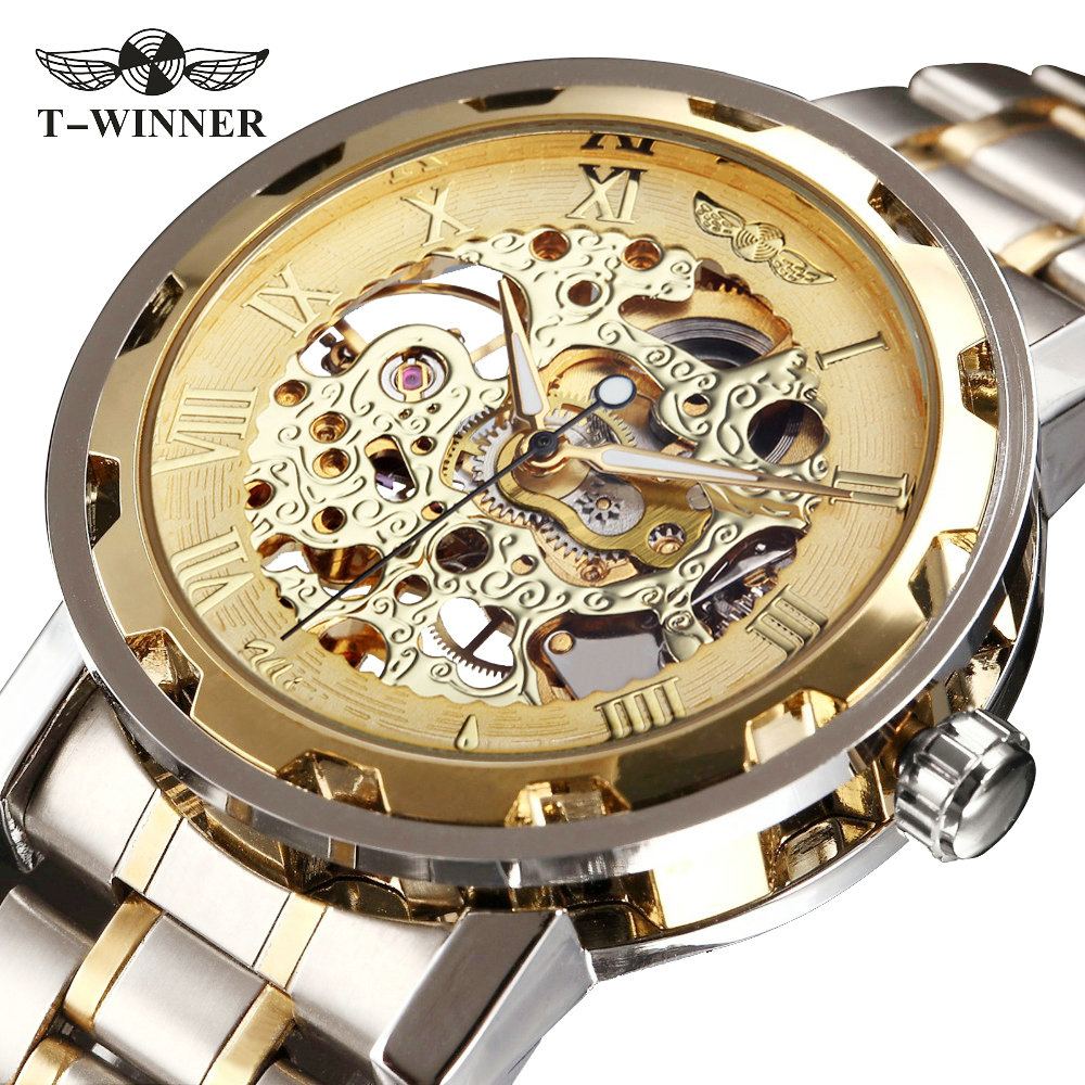 WINNER Golden Watches Men Skeleton Mechanical Watch Stainless Steel Strap Top Brand Luxury T-WINNER Classic Wristwatch 17 COLORs famous brand winner watch woman leather strap automatic mechanical watches women skeleton mechanical wristwatch hodinky
