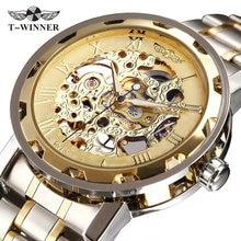 GANADOR de Oro Relojes de Los Hombres Correa de Acero Inoxidable Reloj Mecánico Esquelético T-WINNER de Primeras Marcas de Lujo Clásico Reloj de pulsera de 17 Colores