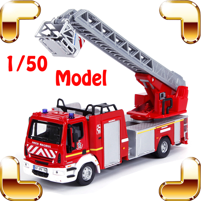 Christmas Gift Iveco Magirus 1/50 Model Fire Engine Car Collection Vehicle Alloy Scale Metal Diecast Kids Education Toy Present maisto jeep wrangler rubicon fire engine 1 18 scale alloy model metal diecast car toys high quality collection kids toys gift