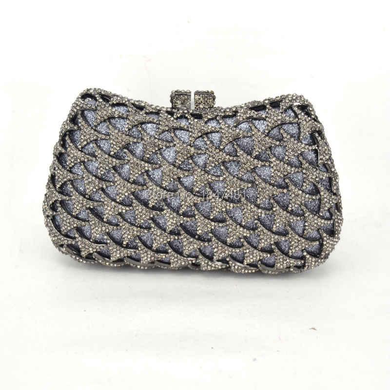 Серые роскошные кристаллы алмаза клатчи женские Диаманте вечерняя сумочка оптовая продажа с фабрики свадебные сумки серые черные вечерние сумочки SC511
