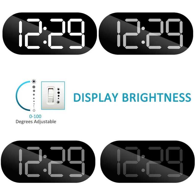 Будильник цифровое зеркало поверхностный диммер большой светодиодный дисплей с двумя usb-портами зарядного устройства Повтор таймер сна для украшения спальни