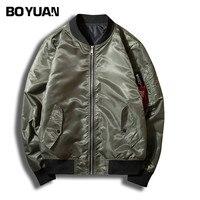 BOYUAN Jacket Coat Men Printed Bomber Jacket Pilot Clothing Outerwear Coats Stand Collar Plus Size S