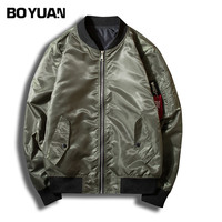 BOYUAN Jacket Coat Men Printed Bomber Jacket Pilot Clothing Outerwear Coats Stand Collar Plus Size S
