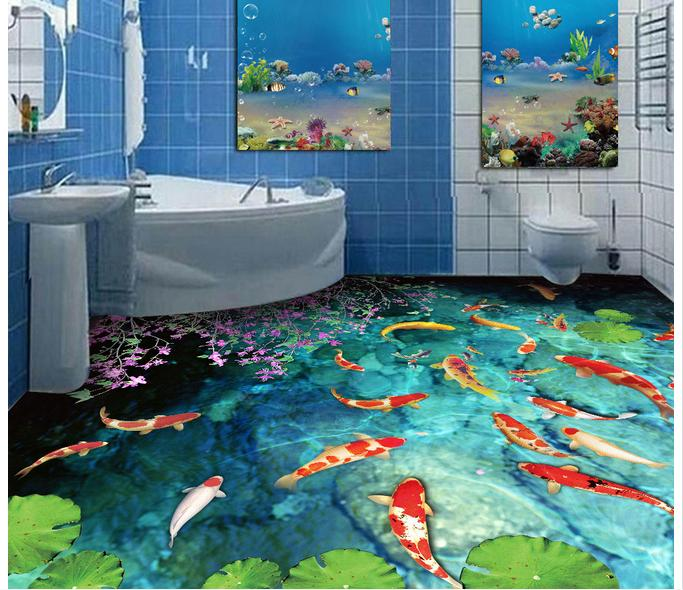 Custom photo floor wallpaper 3 d floor stream carp pond in for Bathroom mural wallpaper