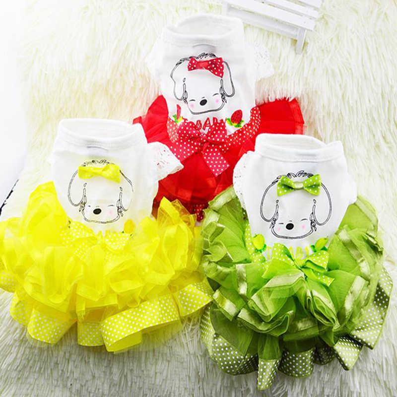 Одежда для собак Пышная юбка с фруктом, классическое платье с пуговицами для собак кружевная юбка принцесса с принтом милое платье аксессуары для собак XS-XXL