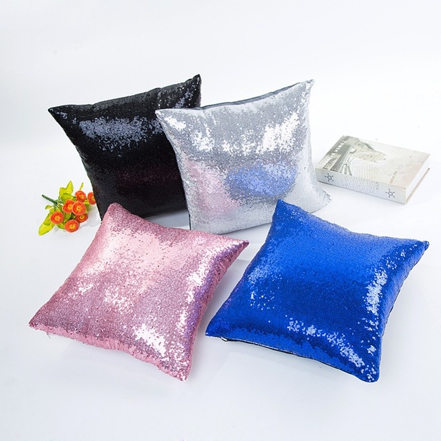 1Pcs 40*40cm Solid Sequin Glitter Throw Pillow Cushion Cover Seat Car Home Decor