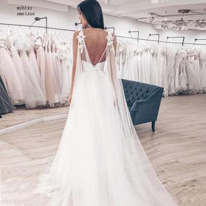 Image 3 - Sexy Spaghetti Straps Tulle Skirt Top Satin Vestido De Novia Sleeveless V neck Boho Backless 2020 Wedding Dress Bride Dress