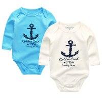 2pcs Lot 2017 Round Collar Long Sleeve Cotton Infantil Jumpsuit 0 12M Overalls Baby Rompers Newborn