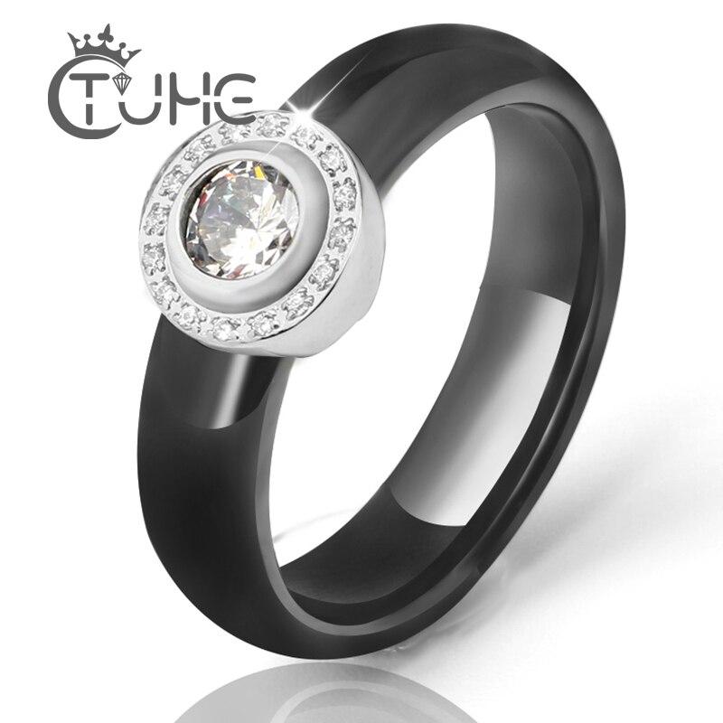 Hot White Big Crystal snubní prsteny 6 mm černé bílé keramické prsteny pro ženy z nerezové oceli kruh prsten svatební šperky šperky