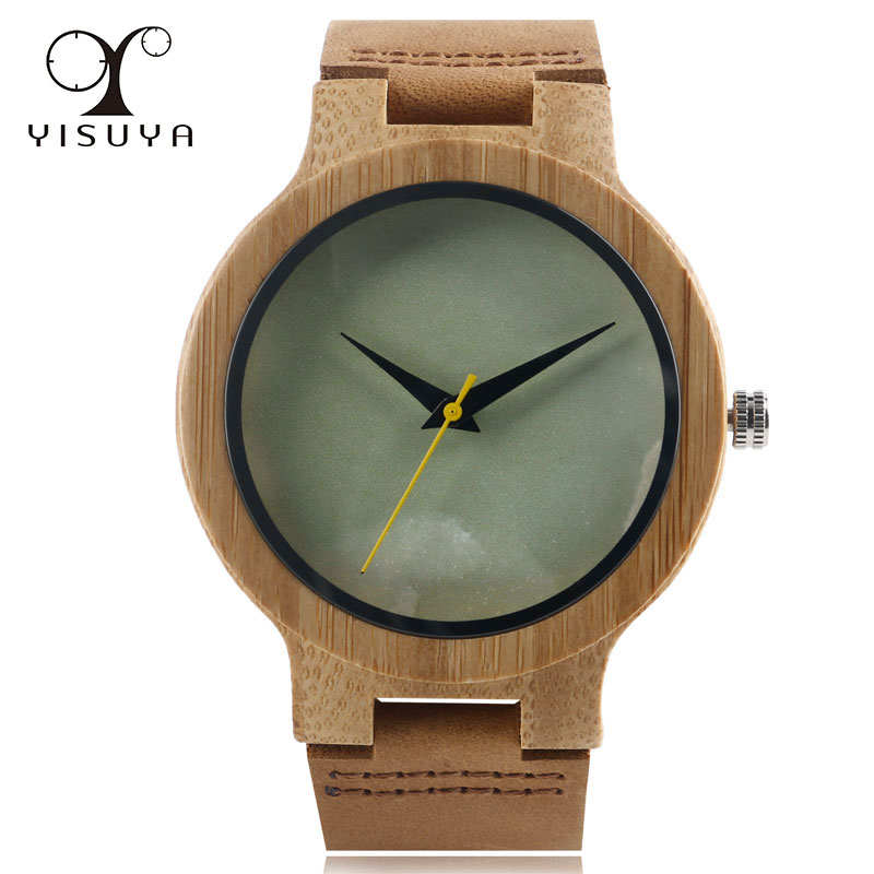 2018 New Bamboo Gift Creative Nature Wood Genuine Leather Band Strap Wrist Watch Bangle Women Marble Pattern Face Ladies Watch