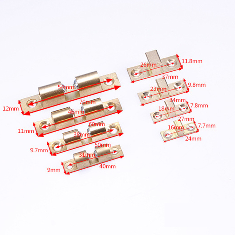 Newest 2 Set Copper Double Ball Latch Clip Lock Cabinet Door Catches Beads Hardware Accessories