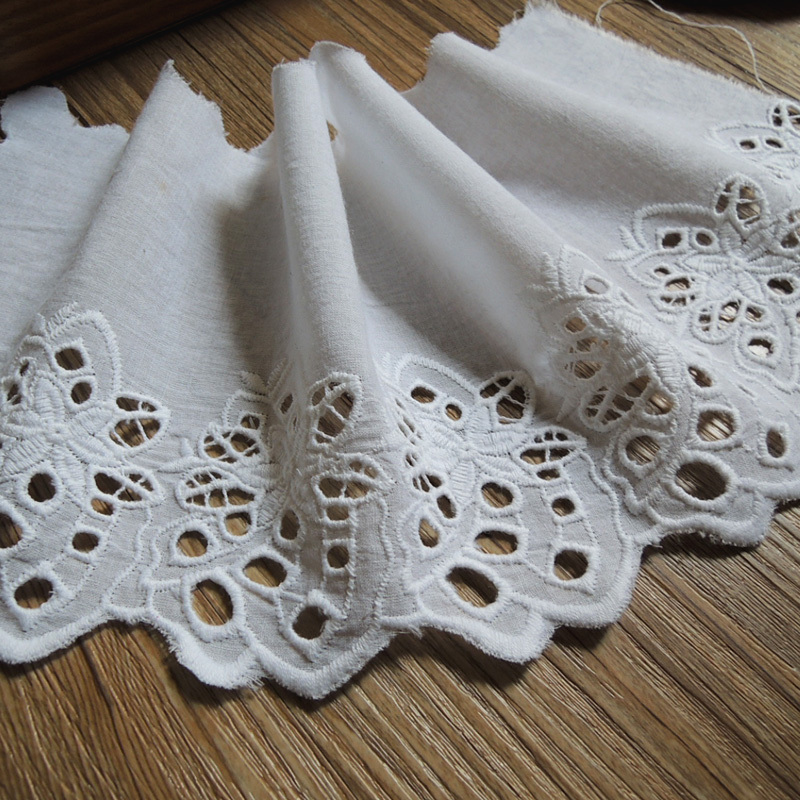 Cotton fabric cut out embroidery eyelet edge lace cm