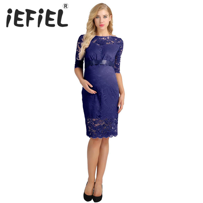 iEFiEL Summer Women Ladies Floral Lace Bridesmaid Round Neck Half Sleeve Knee Length Dress Women Photography Prom Formal Dress