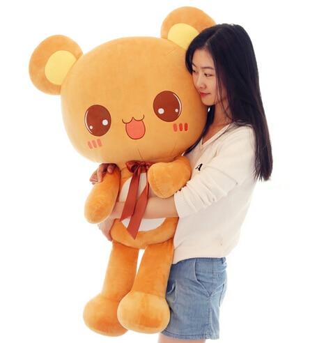 ФОТО 70 cm miss bear plush toy giant stuffed bear birthday gift valentines animal dolls brown, pink 1pcs free shipping
