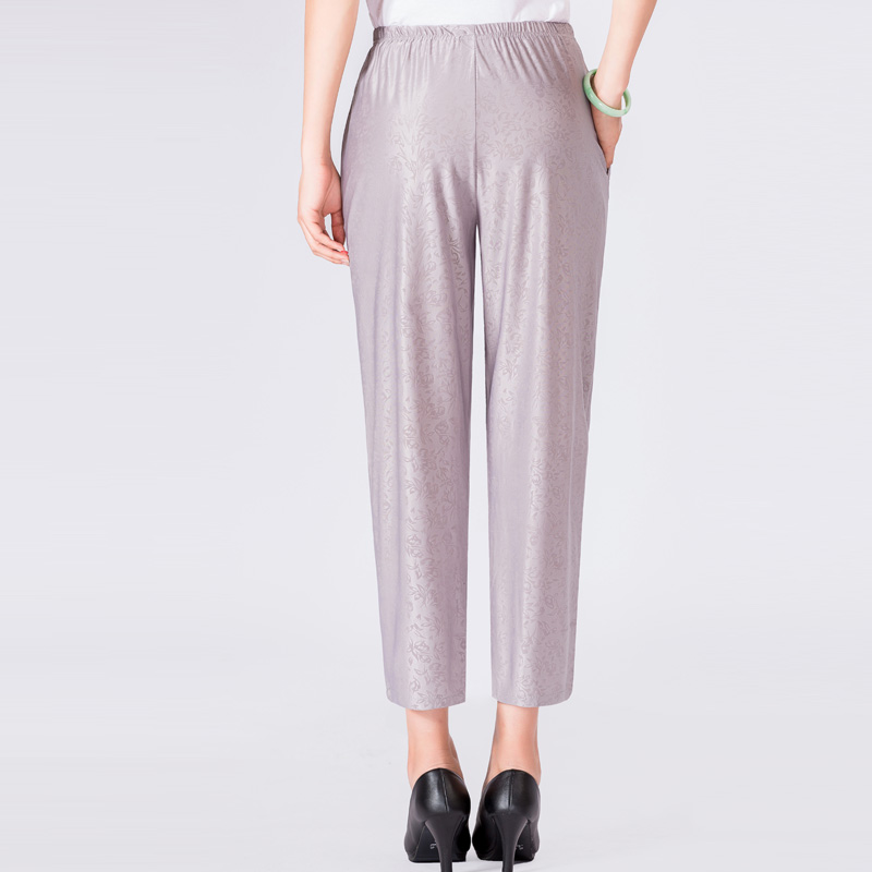 Elderly Women Casual Pants Gray Black Shadow Pattern Trousers Female High Waist Elastic Band Pantalones Mother Leisure Pant 2019 in Pants amp Capris from Women 39 s Clothing