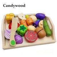 Mutter garten Baby Holz Küche Spielzeug Schneiden Obst Gemüse bildung lebensmittel spielzeug für kinder mädchen für Vorschulkinder