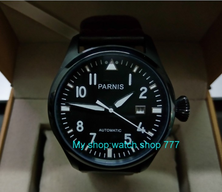 47mm PARNIS Automatic Self-Wind Mechanical movement men's watch Black dial PVD case luminous Mechanical watches zdgd113a sapphire 2017 new fashion parnis 45mm black dial st2557 automatic self wind movement men s watch gmt mechanical watches 291