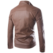 Leather Jacket Men Fashion Pocket Design PU Leather Jacket Motorcycle jaqueta de couro mens leather jacket jaqueta masculina