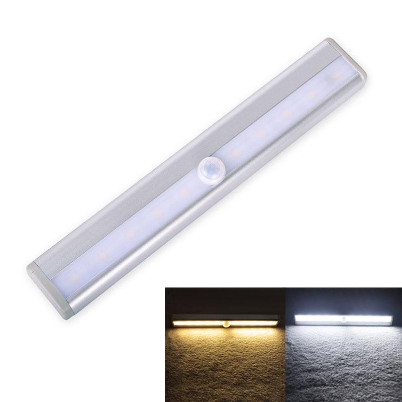 Oświetlenie szafki LED Lampka nocna LED 10 diod Przenośny czujnik ruchu Bar światła Indukcyjna lampa na podczerwień do schodów w szafie Sypialnia