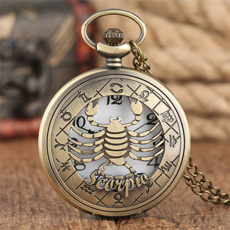 12 Horoscope Tender Scorpio Women Necklace Watches Bronze Men Pendant Casual Pocket Watch Twelve Constellations Quartz 2020 Gift