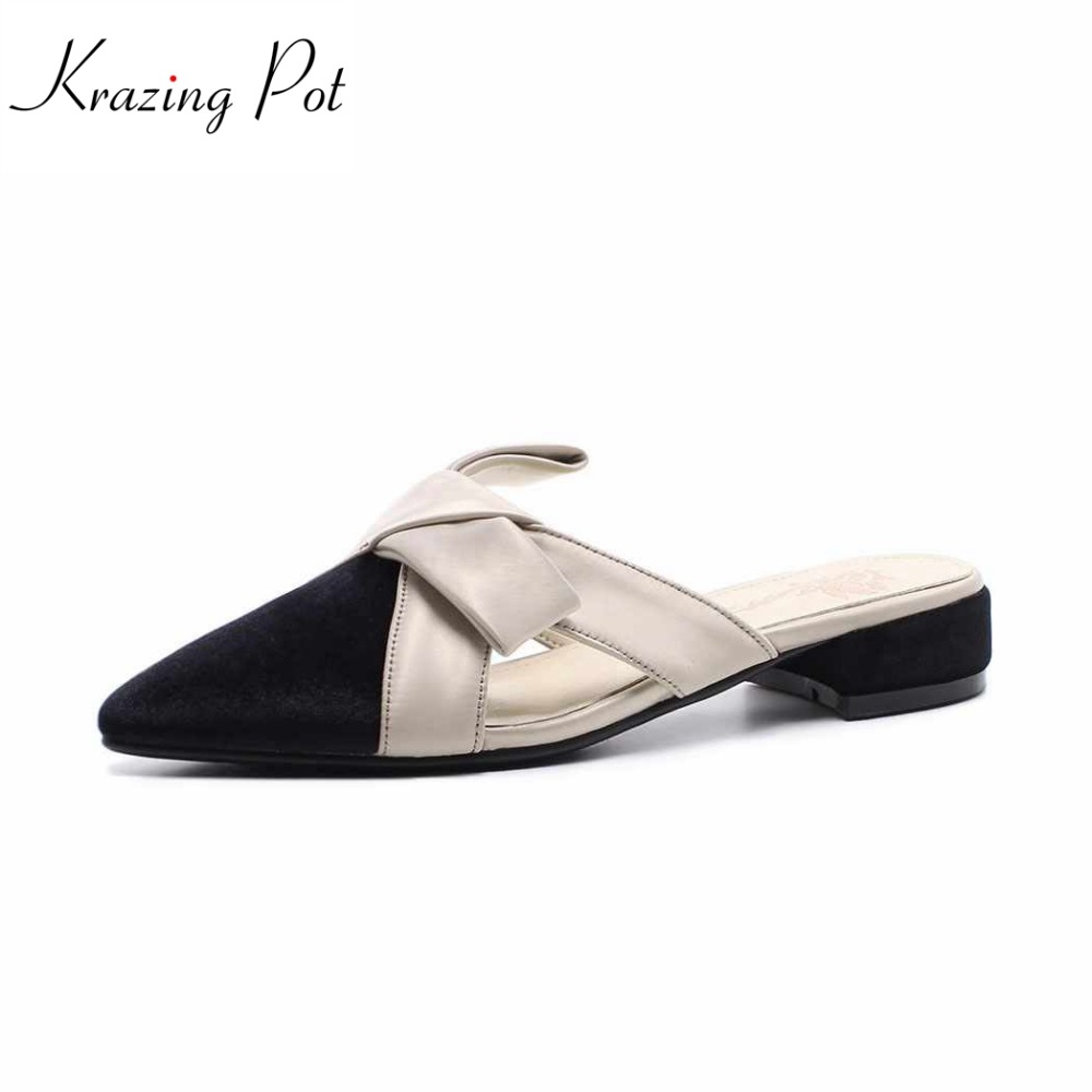 Krazing pot 2018 silk velvet brand luxury med heels mules woman slipper simple pointed toe summer high street fashion shoes L61 krazing pot 2018 new arrival sheep suede thick med heels women hollow decoration pumps buckle poined toe model runway mules l61