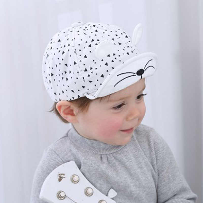 3141dfa6 ... DE MODA DE COREA chico gorra de béisbol de algodón lindo gato sombrero  recién nacido bebé ...