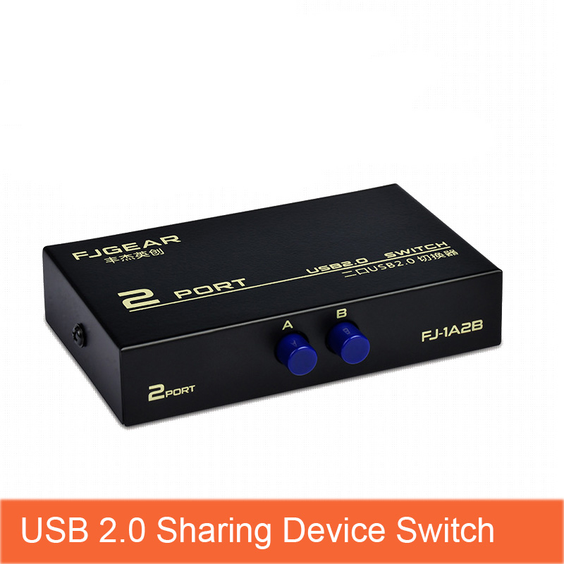 2 Port USB 2.0 Manual Sharing Device Switch Box For 2 Computer PC To Share 1 Printer Scanner Switcher FJ-1A2B