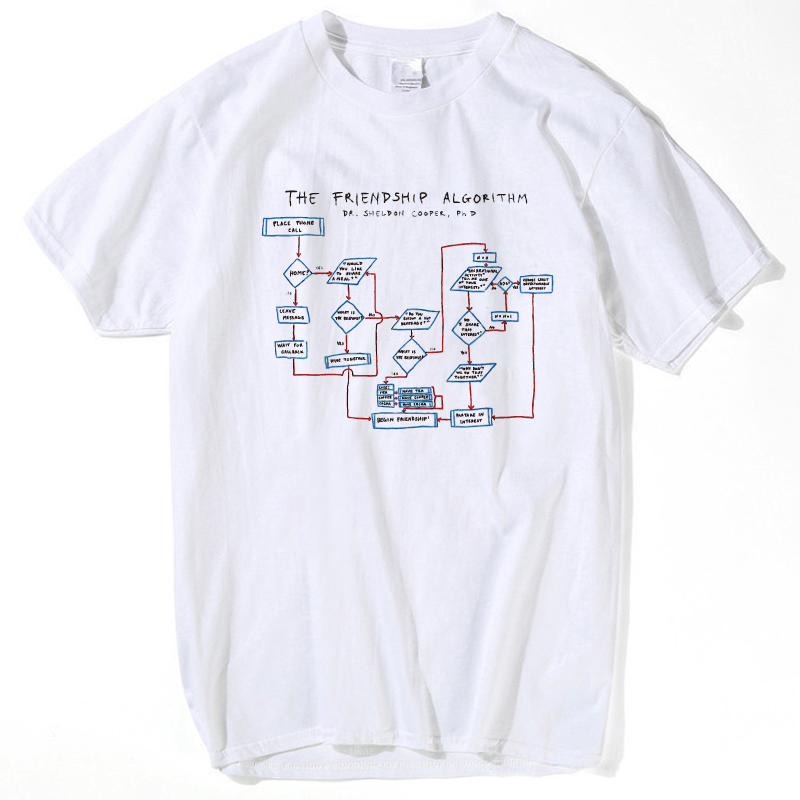 Algoritmo de la Amistad camisetas hombres verano manga corta Camisetas muchachos geeks la teoría de Big Bang camisetas hombre y mujeres camisa