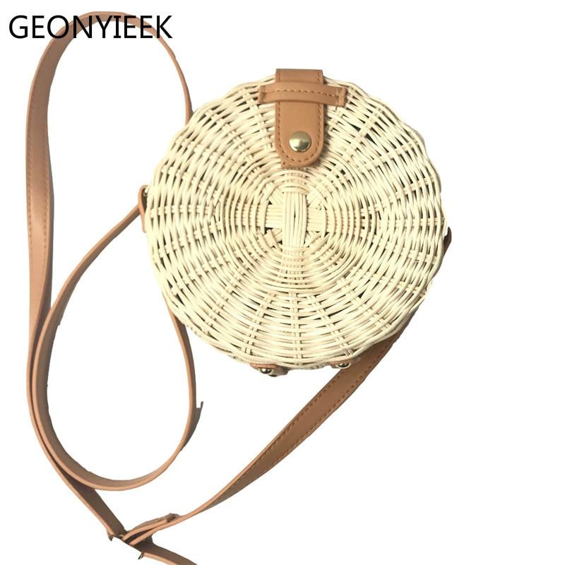 Ins Round Straw Bags for Women Beach Bali Rattan Handbag Small Circle Lady Vintage Crossbody Handmade Kintted Shoulder Bags 2018
