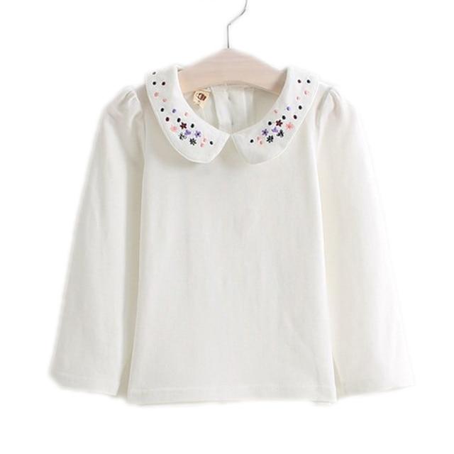 36ac11275 kids designer kids 2018 fashion spring peter pan collar girl t-shirt baby  solid embroidery girl t shirts children clothing