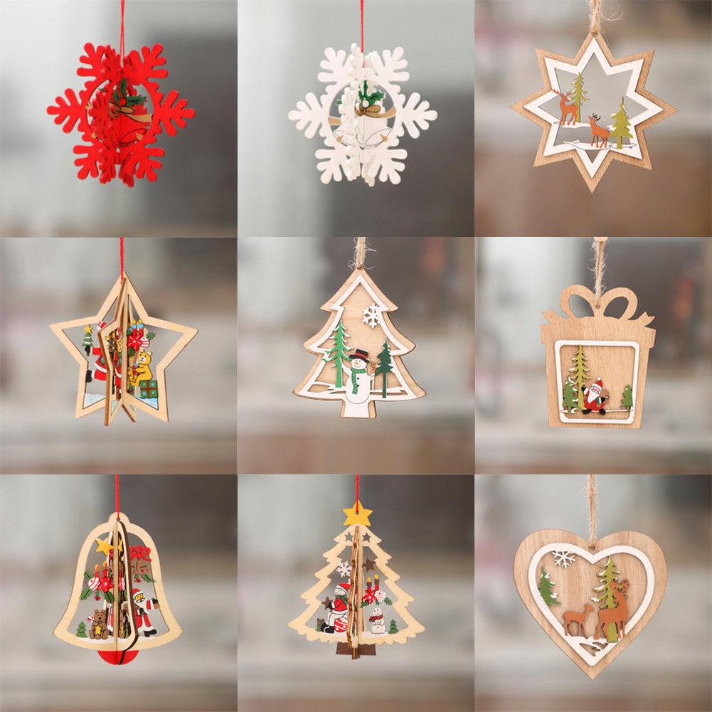 Cute Christmas Decorations Wooden Drop Ornament Xmas Tree ...