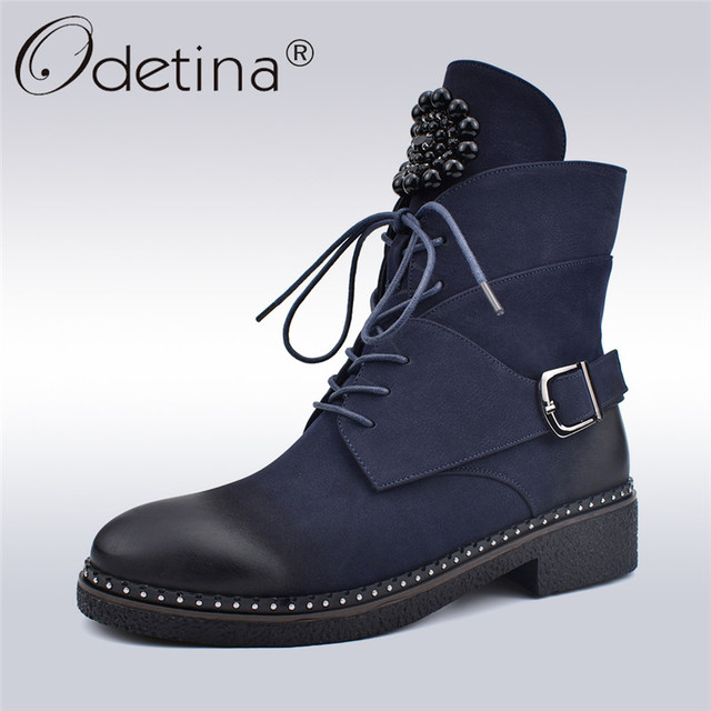 dbe99c425 Odetina New Fashion Motorcycle Boots Women Street Style Sanding Boots With Metal  Decoration Lace Up Zip Ankle Boot Autumn Winter