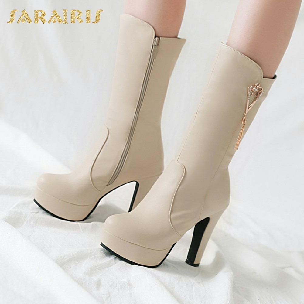 SARAIRIS 2018 Plus Size 31-45 Zip Up Elegant Add Fur Winter Shoes Woman Boots Platform Chunky High Heels Mid Calf Boots FemaleSARAIRIS 2018 Plus Size 31-45 Zip Up Elegant Add Fur Winter Shoes Woman Boots Platform Chunky High Heels Mid Calf Boots Female