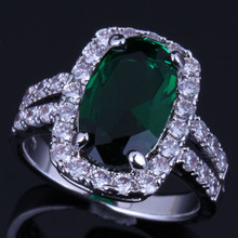 Shining Oval Green Cubic Zirconia White CZ 925 Sterling Silver Ring For Women V0642 alluring oval blue cubic zirconia 925 sterling silver ring for women v0419