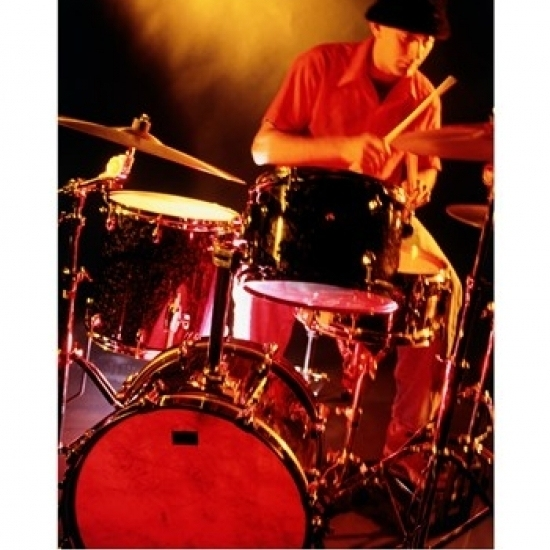 Male drummer playing drums Poster Print (18 x 24)